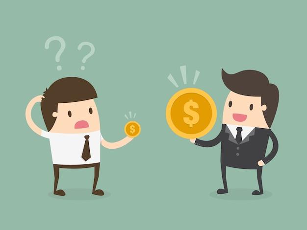 Werkgever en werknemer met muntstukken Gratis Vector
