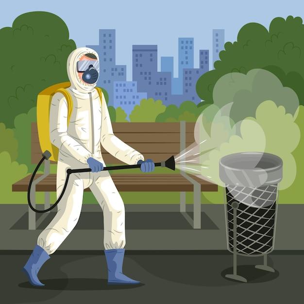 Werknemer die schoonmaakdienst verleent in openbare ruimtes Premium Vector