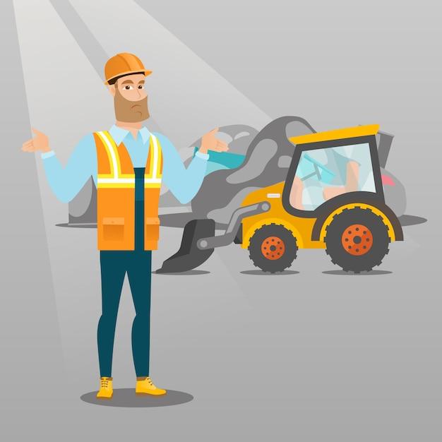 Werknemer en bulldozer op vuilnisbelt. Premium Vector