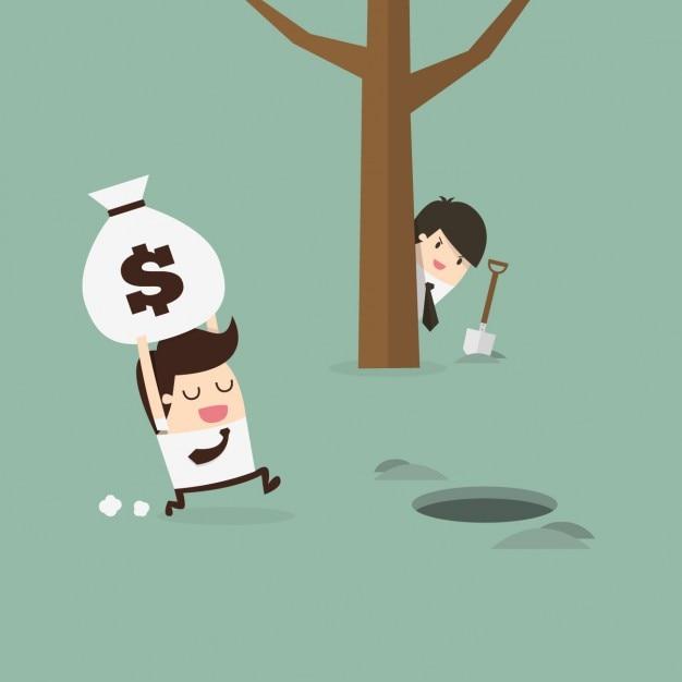 Werknemer het verbergen van een zak geld Gratis Vector