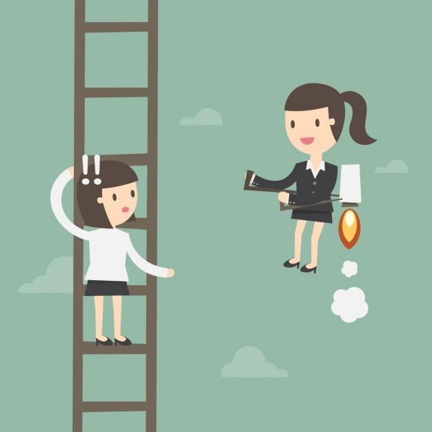 Werknemer in een ladder Gratis Vector