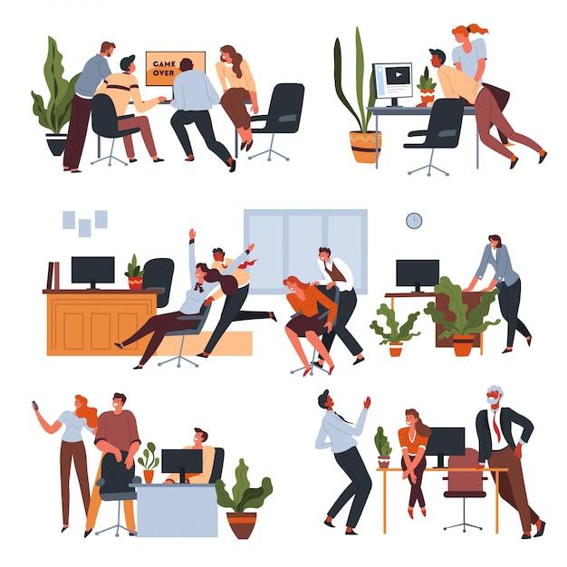 Werknemer plezier in kantoor op pauzes instellen Premium Vector