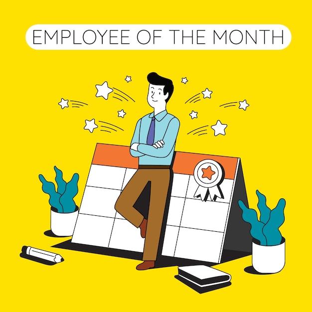 Werknemer van de maand ontwerp Gratis Vector