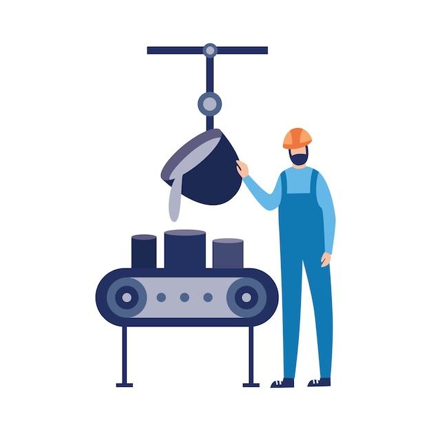 Werknemer van gieterij fabriek giet gesmolten metaal illustratie Premium Vector
