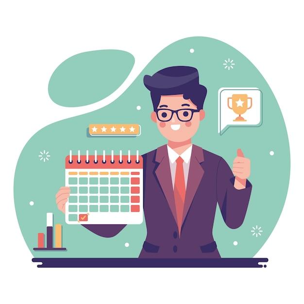 Werknemer van het geïllustreerde maandconcept Gratis Vector