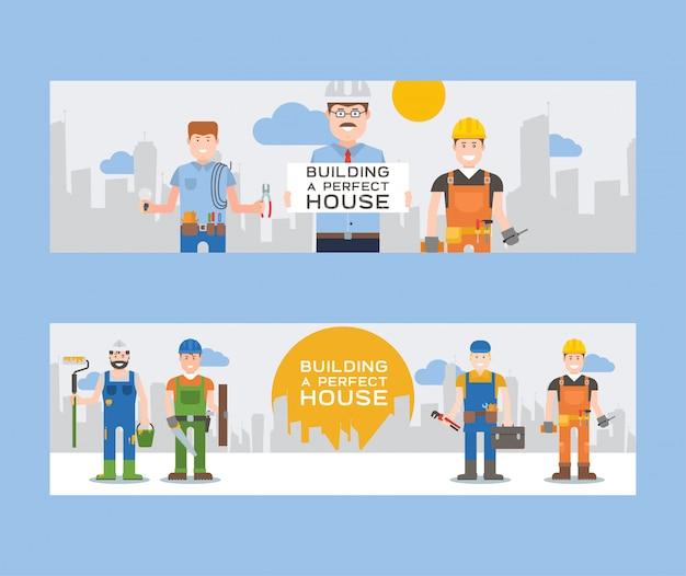 Werknemers bouwers en ingenieurs met gereedschap of tegels set van banners werknemers in hardhats houden ladder, schop en emmer, toolkit, boor, hamer. Premium Vector