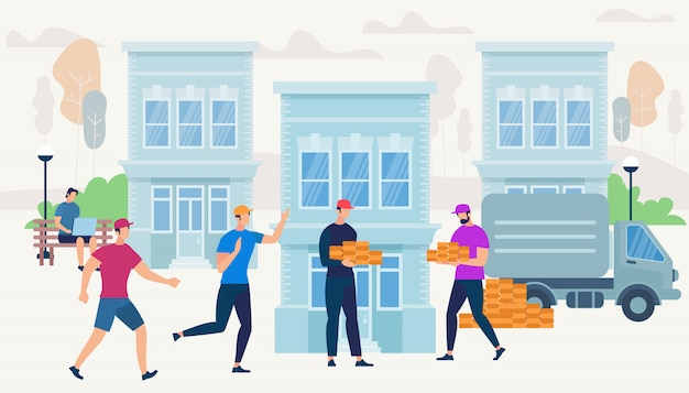 Werknemers brengen bricks van van car naar house. Premium Vector