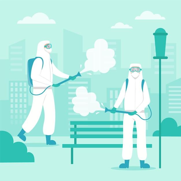 Werknemers die schoonmaak service ontwerp Premium Vector