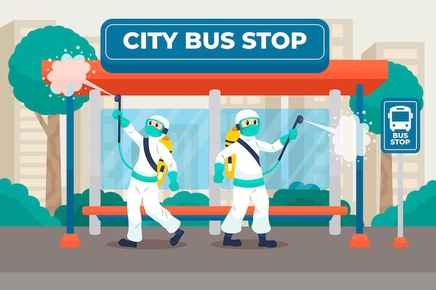 Werknemers die schoonmaakdienst verlenen in openbare ruimtes Gratis Vector