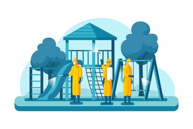 Werknemers die schoonmaakdienst verlenen Premium Vector