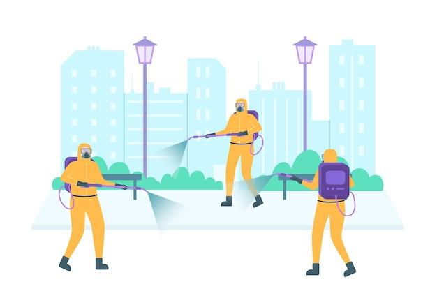 Werknemers die schoonmaakdiensten verlenen in openbare ruimtes Premium Vector