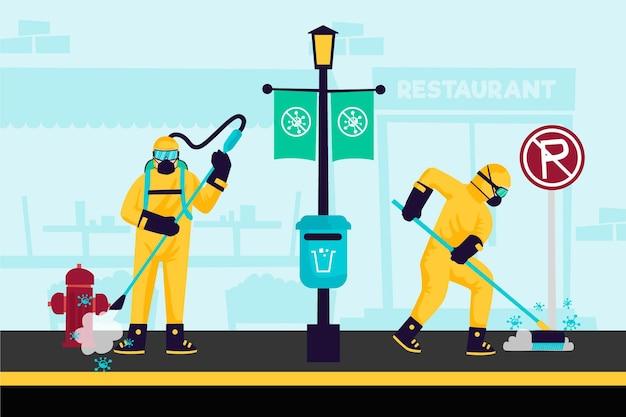 Werknemers die schoonmaakdiensten verlenen in openbare ruimtes Gratis Vector