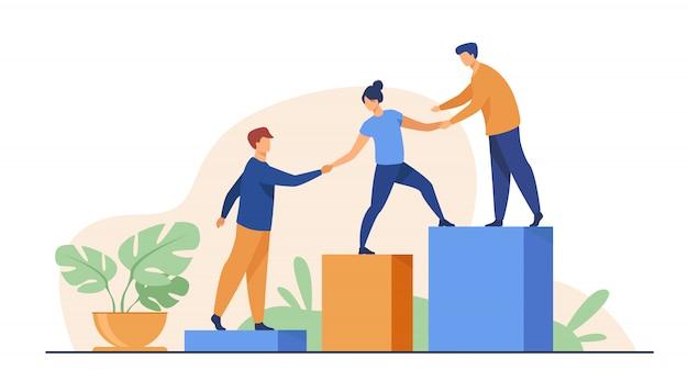 Werknemers geven handen en helpen collega's om naar boven te lopen Gratis Vector