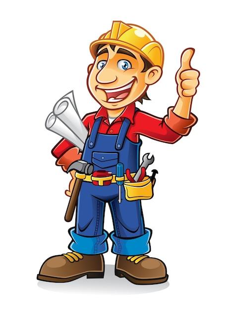 Werknemers in de bouw houden het papierwerk en de gereedschappen met een duim omhoog Premium Vector