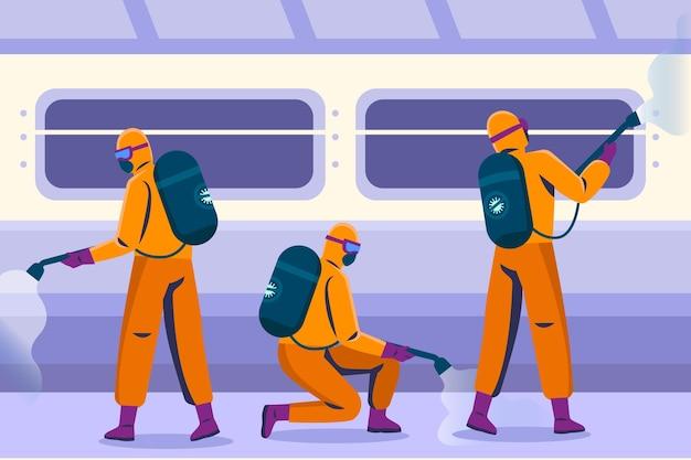 Werknemers in hazmat passen bij het schoonmaken van openbare ruimtes Premium Vector