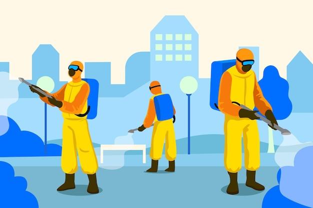 Werknemers in hazmatpakken ontsmetten openbare ruimtes Premium Vector