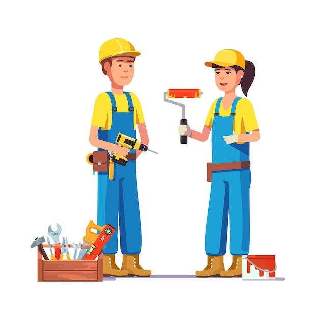 Werknemers in uniform Gratis Vector