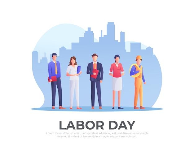 Werknemers ingesteld voor dag van de arbeid Premium Vector