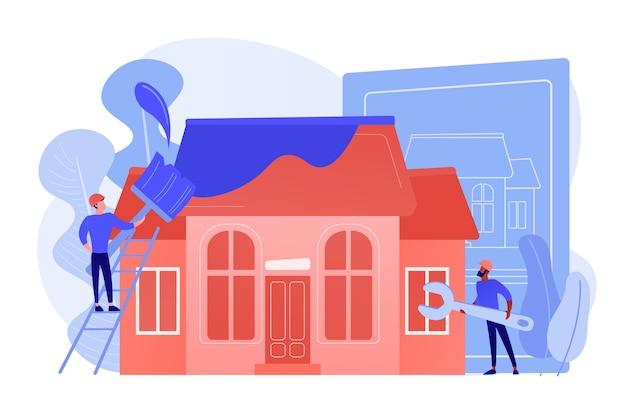 Werknemers met penseel en moersleutel die het huis verbeteren. huisrenovatie, renovatie van onroerend goed, verbouwing van huizen en onconstructiediensten. roze koraal bluevector geïsoleerde illustratie Gratis Vector