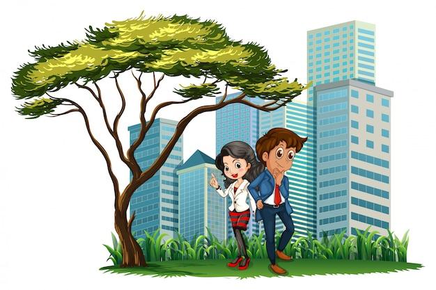 Werknemers onder de boom Gratis Vector