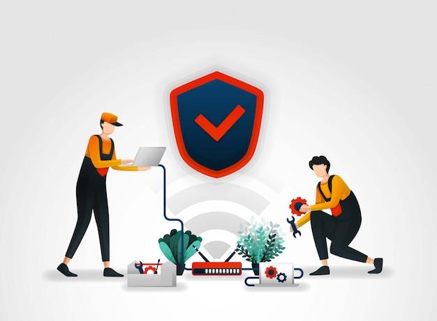 Werknemers onderhouden het beveiligingssysteem van de router Premium Vector