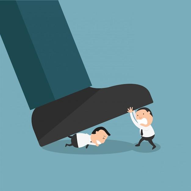 Werknemers verzetten zich tegen de autoriteit, of de slechte baas op de werkplek Premium Vector