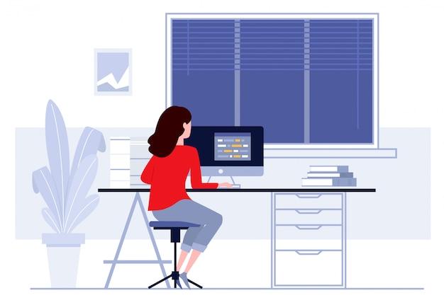 Werkplek in kantoor, zakenvrouw werken op de computer op haar bureau Premium Vector