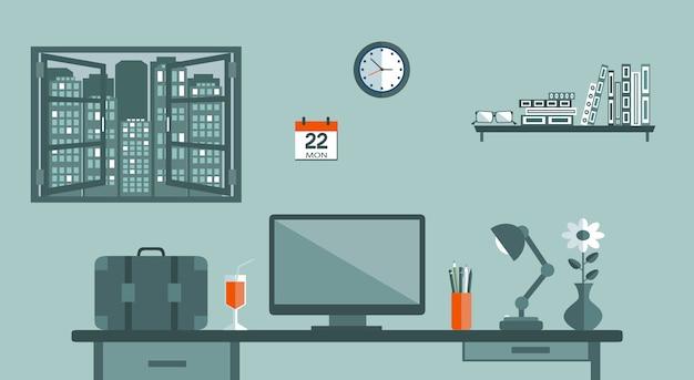 Werkplek van een officemanager Premium Vector