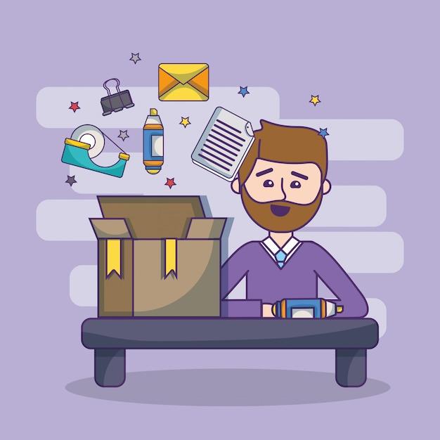 Werkplek werknemer werkruimte cartoon Premium Vector