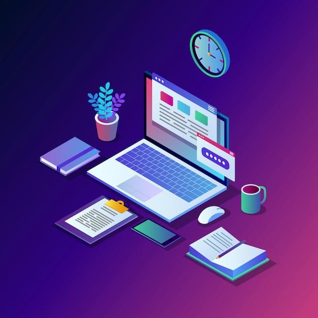 Werkproces. tijdsbeheer. 3d isometrische kantoorwerkplek met computer, laptop, pc, mobiele telefoon, koffie, klok, kalender, document. Premium Vector