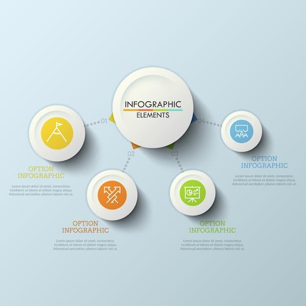 Werkstroomdiagram, hoofdcirkel verbonden met 4 ronde elementen door stippellijnen. vier stappen naar succesconcept. creatief infographic ontwerpsjabloon. Premium Vector