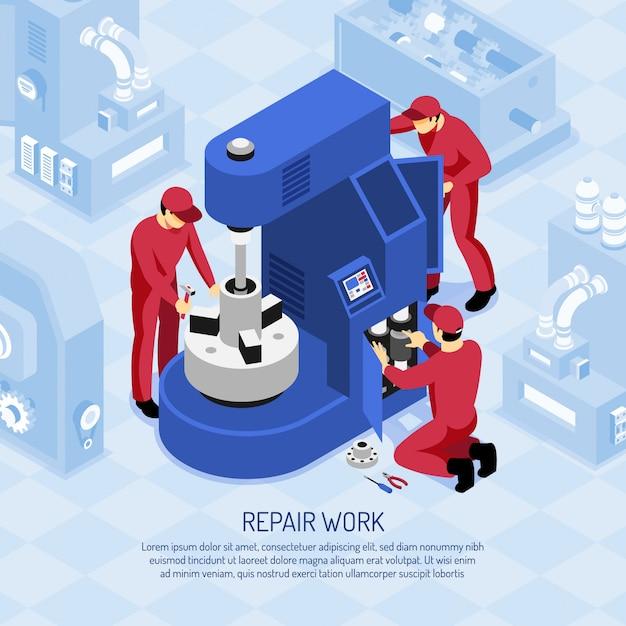Werktuigkundigen in rode uniformen tijdens het reparatiewerk bij werktuigmachine in isometrische winkel Gratis Vector