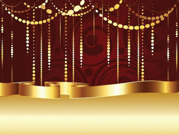 Wervelingen en gouden lint Premium Vector