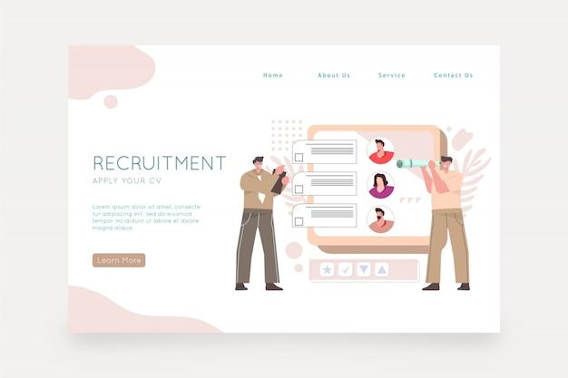 Werving concept webpagina Gratis Vector