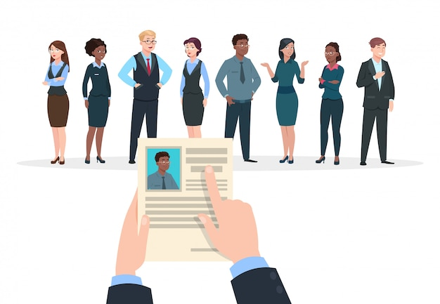 Werving concept. zakenmensen kandidaten interview. zakenman houdt cv cv. werk en carrière. Premium Vector