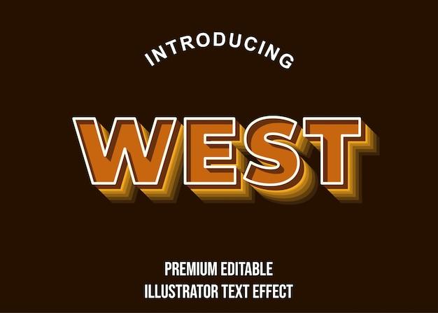 West - 3d brown text effect-lettertypestijl Premium Vector