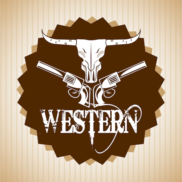 Westelijk bannerontwerp Premium Vector