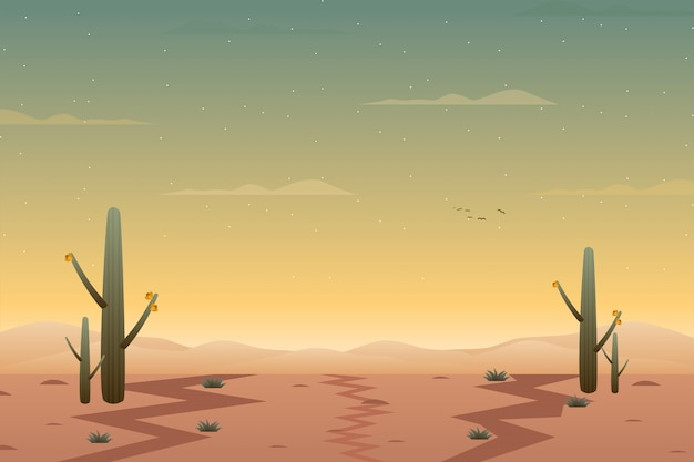 Westelijk woestijnlandschap met groene cactusplant Premium Vector