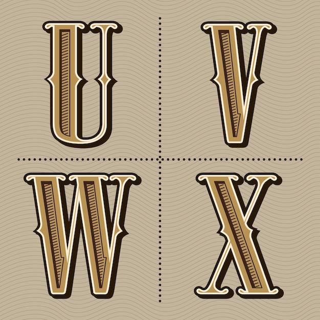Westelijke vintage het ontwerpvector van alfabetbrieven Premium Vector