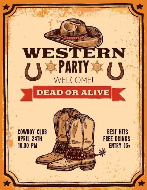 Western hand getrokken poster Gratis Vector
