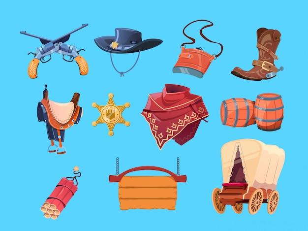 Westerse cartoonelementen. wilde westen cowboylaarzen, hoed en pistool. sheriff-insigne, dynamiet en wagen Premium Vector