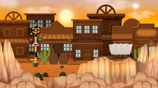 Westerse woestijn thema scène in de natuur Gratis Vector