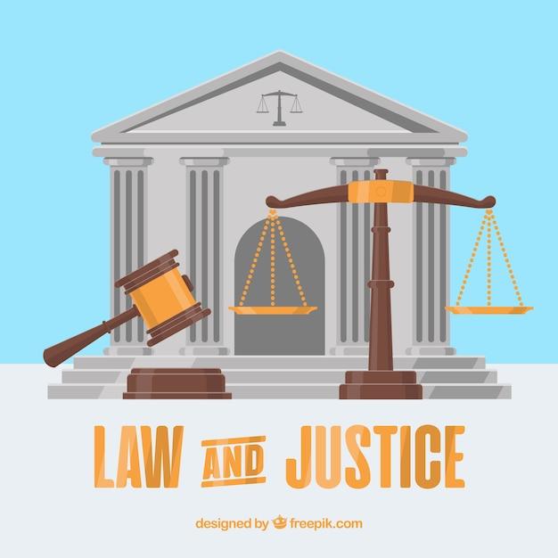 Wet en rechtvaardigheid concept met platte ontwerp Gratis Vector