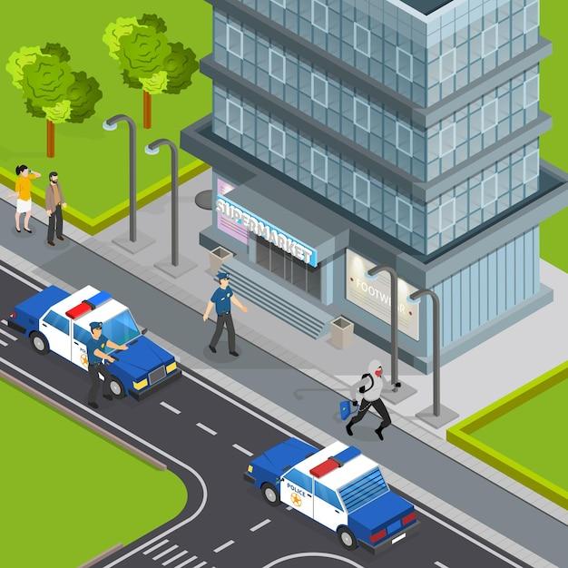 Wet justitie politie service isometrische samenstelling met inbreker betrapt op het stelen van handtas van voetgangers arrestatie scène Gratis Vector