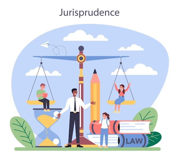 Wet klasse concept. straf- en oordeelonderwijs. schuldgevoel en onschuld idee. jurisprudentie natuurlijk. Premium Vector