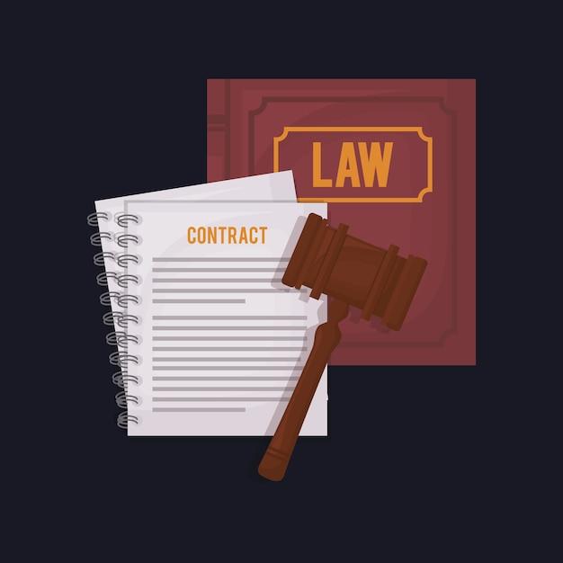 Wetboek met hamer en contractdocument Premium Vector
