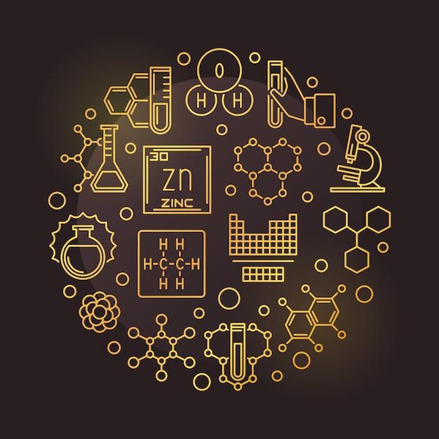 Wetenschap en chemie gouden ronde overzicht pictogram illustratie Premium Vector