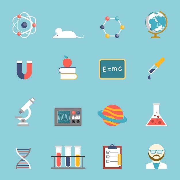 Wetenschap en onderzoek icon set Gratis Vector