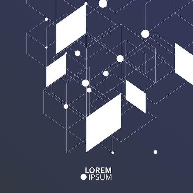 Wetenschap en technologie achtergrond met abstracte verbindende punten en lijnen Premium Vector