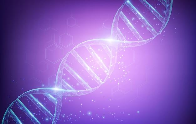 Wetenschap en technologie concept met dna-moleculen structuur Premium Vector